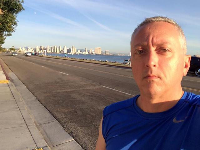 City to city I'm running my rhyme. Got four good miles in San Diego.